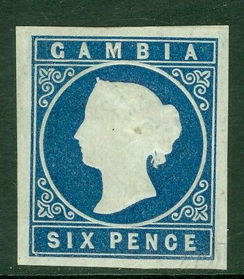 SG 7 Gambia 1874 6d Deep Blue, lightly mounted mint, 4 large margins CAT £350