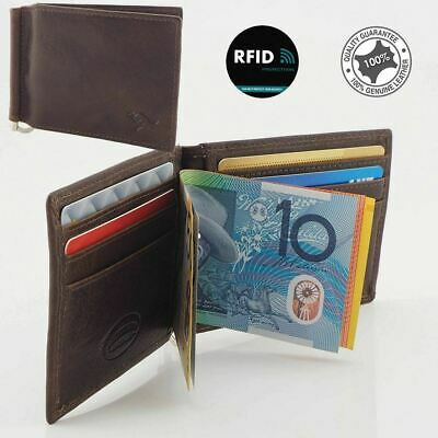 RFID Genuine Cowhide Leather Slim Men's Money Clip Wallet Card Holder, Brown New