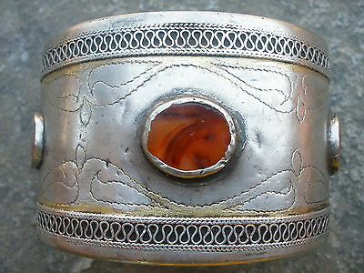 Antique 19th c. Ottoman Folk Silver Sterling Bulgaria Greece Bracelet Stones