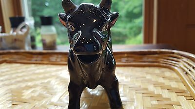 Vintage Ceramic Black Cow Creamer Pitcher Figurine