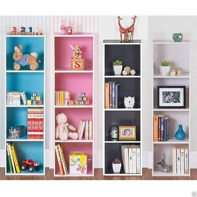 Coloured 4 Tier Wooden Bookcase Storage Shelving Display Unit Lounge Bedroom