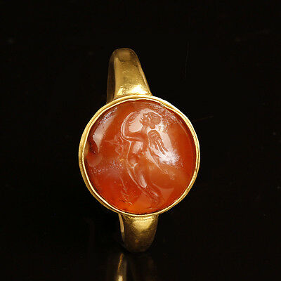 Beautiful Greek Gold Ring with Eros and Psyche