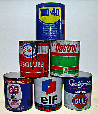 Set of 6 Retro Vintage Oil Can Mugs Gift Motorcycle Car Mechanic Coffee Tea Mug