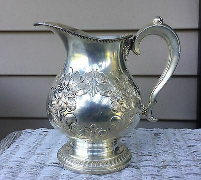 W&S Blackinton hand chased silver plated pitcher dogwood floral vintage epc
