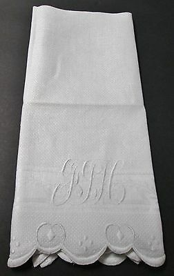 Antique Nubby Linen Towel F T H Monogram Embroidery Finished Scalloped Edges