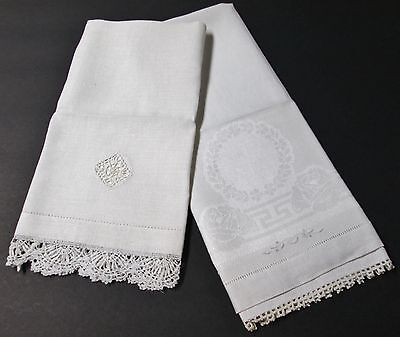 Antique 2 Linen Towels Crocheted & Embroidery Accents Freshly Laundered