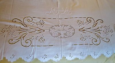 Antique Italian Sheet Embroidered K L Monogram Cutwork Fruit & Flowers