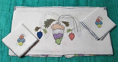 Antique Linen Lawn Tablecloth & 6 Napkin Set Hand Applique Stylized Fruit Floral