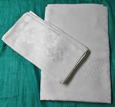 Antique Linen Damask Tablecloth & 8 Lapkin Set L A V Monograms Hand Hemmed