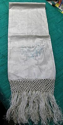 Antique Italian Linen Damask Fringed Show Towel Stencilled E J Monogram Unused