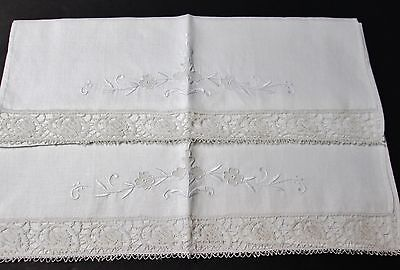 Pair Linen Towels Embroidery & Ornate Drawnwork Flowers Lace Trim Gorgeous!