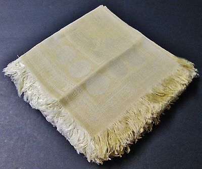OUTSTANDING Set of 12 Turkey Yellow Linen Damask Fringed Napkins Never Used