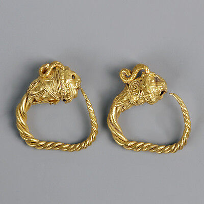 Greek Gold Lion Head Earrings Set