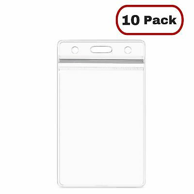 10Pcs ID Card Holder Clear Plastic Badge Resealable Waterproof Business Case NEW