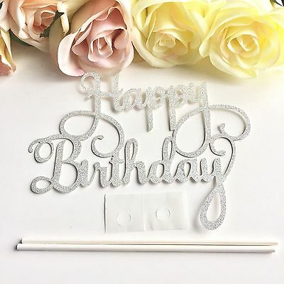 Happy Birthday Cake Topper Shimmer Cake Topper Party Gold Silver Glitter