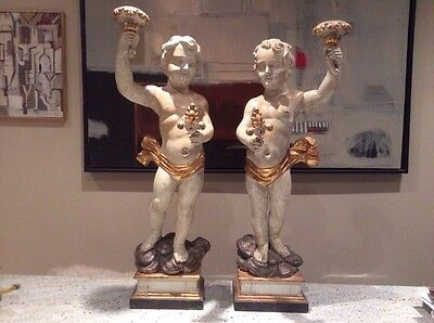 Monumental Pair Polychrome Giltwood Cherubs Torchieres
