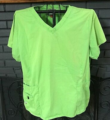 Mary Engelbreit Nursing Scrub Top Lime Green Women's Size 2X