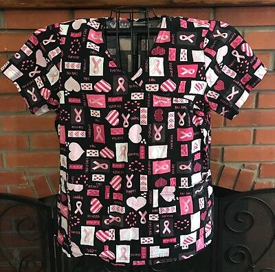 Peaches nursing Scrub top Pink and Black  Print Women's Size large