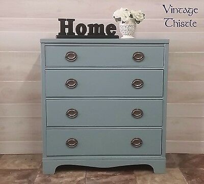 vintage hand painted solid wood Hepplewhite style four drawer chest duck egg
