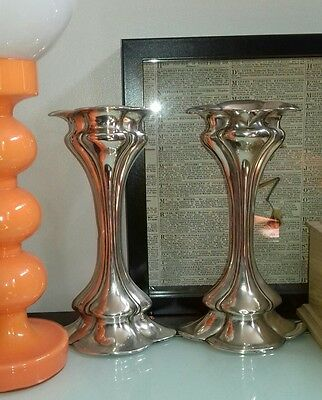 Beautiful pair of solid sterling silver art nouveau vases Chester 1907-8