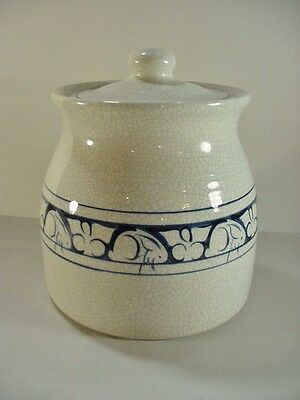 Dedham Pottery Potting Shed Rabbit / Bunny Blue On White Covered Cookie Jar Tvm