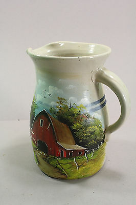 "Vintage Blue Ring Crock Water Pitcher Hand Painted Farm Scene Signed 9"" Tall"