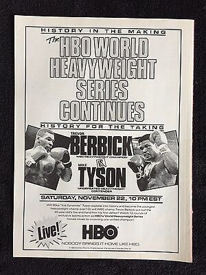 1986 Mike Tyson Trevor Berbick Magazine Ad HBO Boxing Match November 22