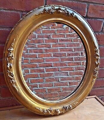 1850S Antique Oval Gilt Framed Beveled Mirror - Restoration To Frame - Heavy