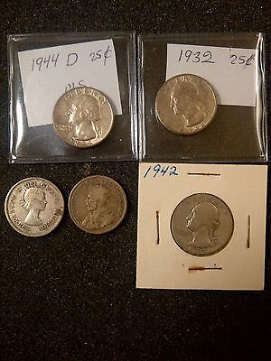 Early Quarter 3 washington +2 canadian silvers Type Group 5 total coins