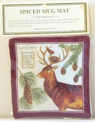 Alice's Cottage Cotton Scented Spiced Mug Mat Coaster Holiday Deer Stag Nest