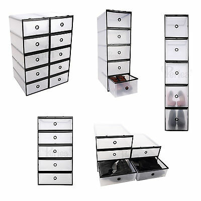 Periea Strong Plastic Shoe Drawer Boxes 5 Sizes, Underbed storage -Clear/Black
