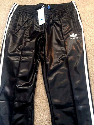 adidas wet look glanz chile nylon black track originals pants slim vintage retro