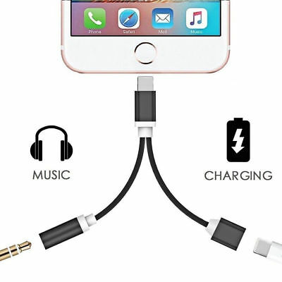 2 in 1 Lightning to 3.5mm Aux Earphone Jack Charger Adapter For iPhone 7 7 Plus