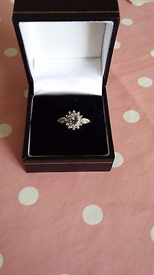 Lovely 9CT  GOLD  Aquamarine & Diamond  engagement ring size  Q