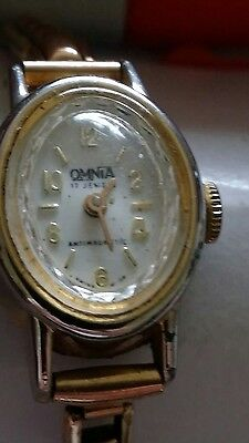 Omnia ladies vintage wrist watch with rose gold wristband