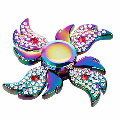 Diamonds Rainbow Alloy Metal Tri Hand Finger Spinner Fidget EDC Desk Toy Gyro