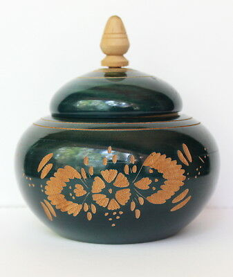 '98 Handcarved Etched Wood Floral Green Painted Mexican Round Trinket Box Signed