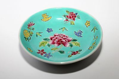 ANTIQUE ORIENTAL CHINESE MARKED PORCELAIN BOWL / DISH FAMILLE ROSE GC c1920's