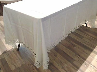 """White Linen Tablecloth with  4"""" Scalloped  Lace Border 100 X 66"""
