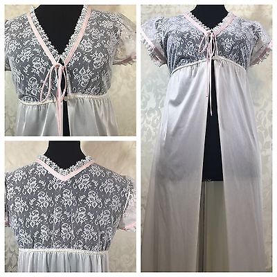 Vintage Lingerie White Sheer Lace Night Gown Open Robe Small Suzy Star Junior