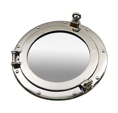 "12""D Nickel Finish Porthole Mirror Ship Nautical Decor Wall Mount Round Silver"