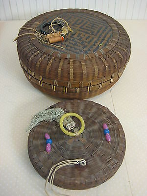 Set Of 2 Rare Antique Chinese Bamboo Sewing Baskets Boxes With Lid