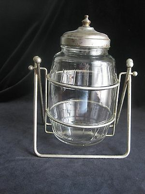 Vintage General Store Counter Glass Diplay Jar-Anchor Hocking-Chrome