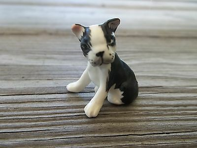 Vtg JAPAN Porcelain Tiny Black/White BOSTON TERRIER Dog Pup Figurine 1.25""