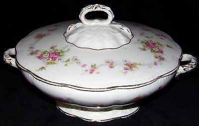 Vintage Edwin M Knowles Semi Vitreous Floral Design Soup Tureen 910