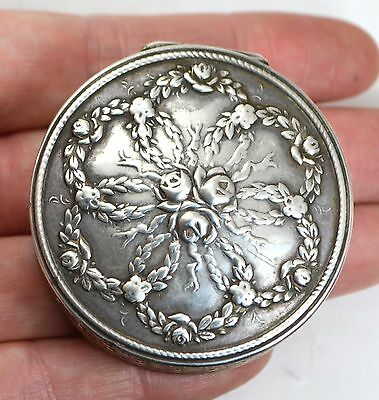 FRENCH Antique Ornate SOLID SILVER Round PILL BOX with Roses & Flower Garlands