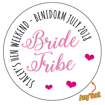 48 x BRIDE TRIBE Personalised Hen Party Do Weekend Stickers Sweet Bag Bottle 667