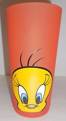 UNIQUE TWEETY BIRD Warner Brothers Looney Tunes FROSTED ORANGE Collector Glass