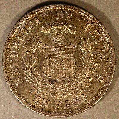 1884 Chile Silver Peso Choice Original High Grade Toning  ** FREE US SHIPPING **