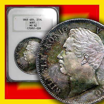 GERMANY Wurttemberg 1840 2-Thalers KM 586 NGC MS/62 Very Nice Toning PL Finish